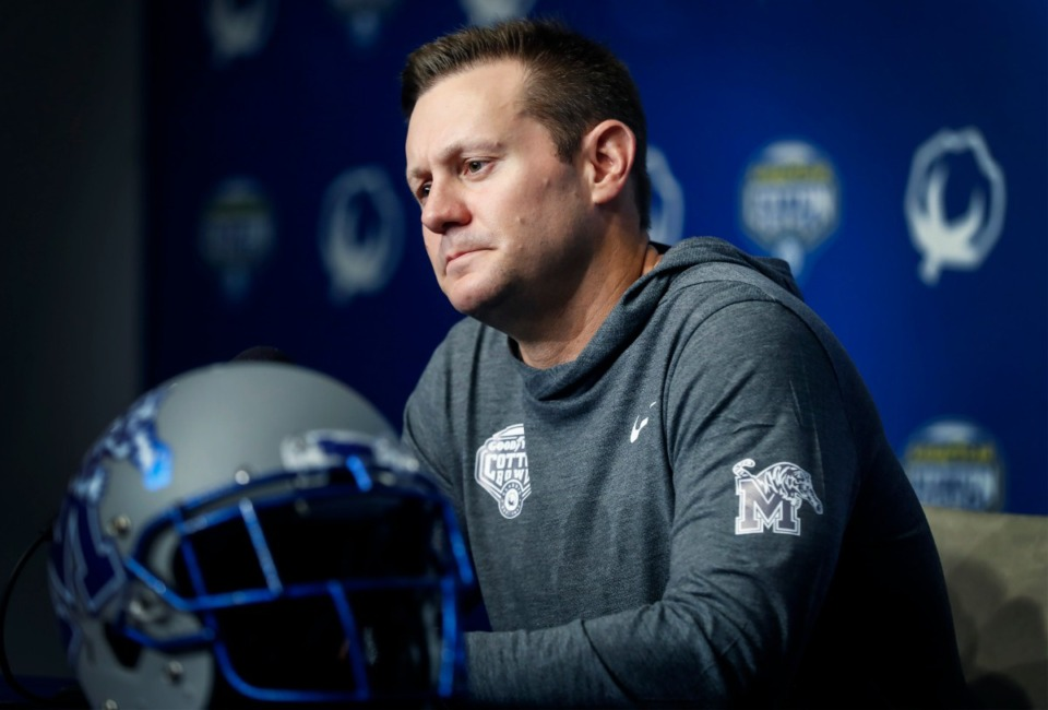 """<strong>Ryan Silverfield (at Cotton Bowl Media Day Thursday, Dec. 26, 2019 in Arlington, Texas) said serving as the Memphis Tigers' head coach has """"been absolutely wonderful."""" </strong>(Mark Weber/Daily Memphian)"""