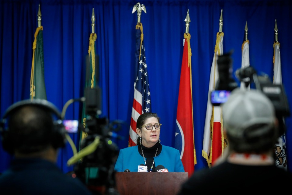 <strong>Shelby County Health Department Director Alisa Haushalter gives an update about the coronavirus on March 11, 2020, at the Shelby County Emergency Management and Homeland Security office.</strong> (Mark Weber/Daily Memphian)