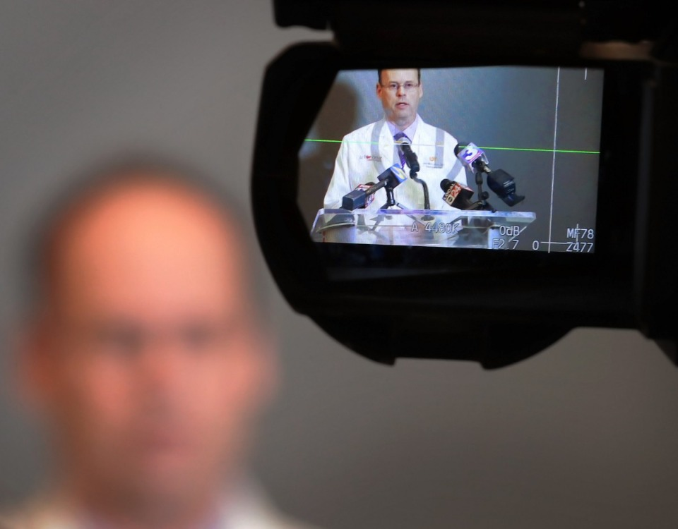 <strong>Dr. Jon McCullers, senior associate dean of the University of Tennessee Health Sciences Center, answers questions about the COVID-19 virus during a press conference at UTHSC on Feb. 26, 2020. McCullers said doctors and researchers at UTHSC hope to have a local test for COVID-19 within two weeks that can be processed in Memphis.</strong> (Jim Weber/Daily Memphian file file)
