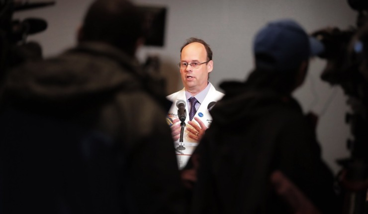 <strong>Dr. Jon McCullers, senior associate dean of the University of Tennessee Health Sciences Center, answers questions about the COVID-19 virus during a press conference at UTHSC on Feb. 26, 2020.</strong> (Jim Weber/Daily Memphian file)