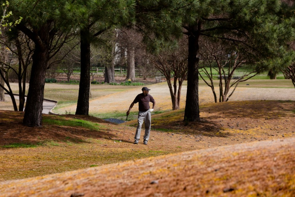 <strong>Terry Fell looks around the course before taking a swing at Galloway Golf Course near the University District in East Memphis on March 19, 2020.</strong> (Ziggy Mack/Special to The Daily Memphian)