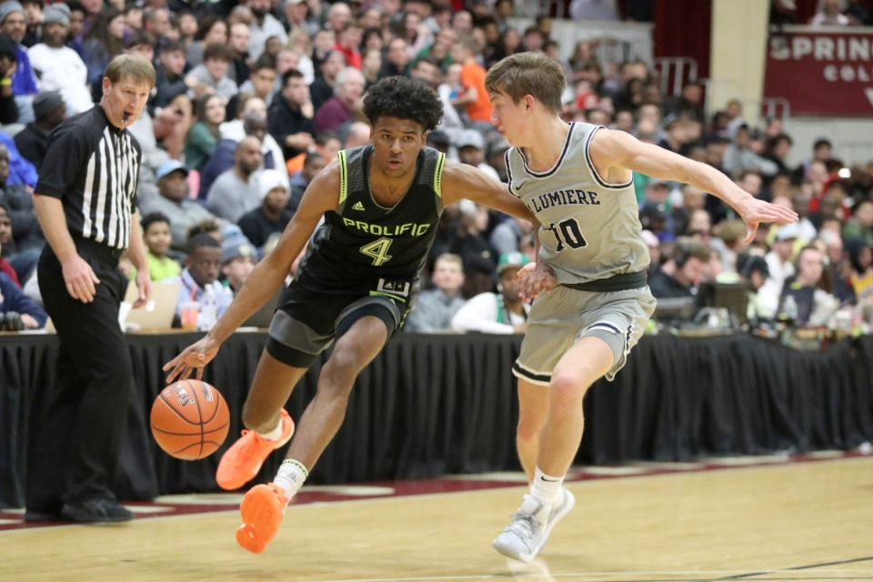 <strong>Prolific Prep's Jalen Green (4) charges the lane on Jan. 19, 2020, in Springfield, Massachusetts. Ranked the No. 3 player in the nation, Green has been heavily recruited by U of M and says he'll decide on college around April 15.</strong>&nbsp;(Gregory Payan/AP file)
