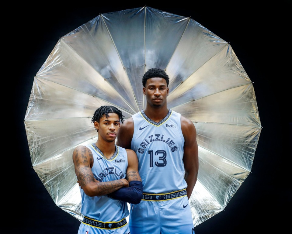 <strong>Teammates Ja Morant (left) and Jaren Jackson Jr. pose for pictures during the Memphis Grizzlies' media day on Sept. 30, 2019. The likely ending of the NBA season due to the COVID-19 pandemic carries a sliver of silver lining for the pair.&nbsp;Morant could hold off Zion Williamson to win Rookie of the Year. And,&nbsp;the injuries that sidelined Jackson Jr. now have more than enough time to fully heal.</strong>&nbsp;(Mark Weber/Daily Memphian file)