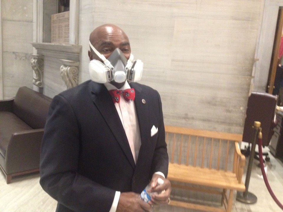 <span><strong>Rep. G.A. Hardaway wears a mask outside the House chamber Thursday to protect himself from the spread of the coronavirus.</strong> (Sam Stockard/Daily Memphian)</span>