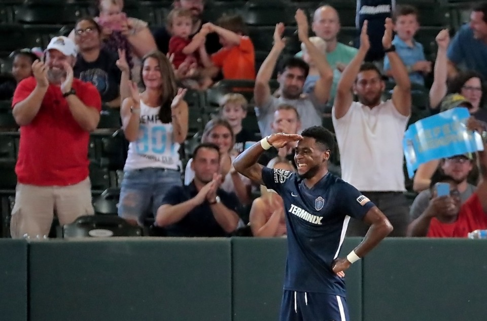 <strong>Memphis midfielder Marcus Epps celebrates after a score against Bethlehem Steel during 901 FC's 5-0 win over Philadelphia at AutoZone Park on Sept. 28, 2019.</strong> (Jim Weber/Daily Memphian file)