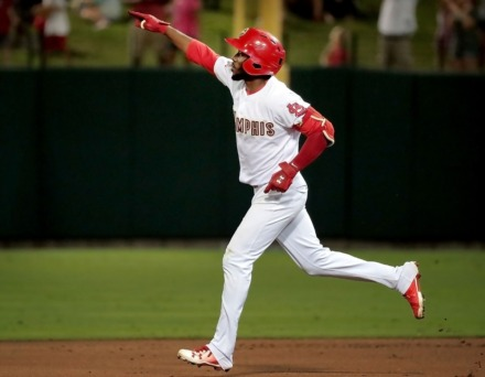 <strong>Randy Arozarena rounds the bases after his second home run of the night during game four of the Redbird's Pacific Coast League series against Fresno at Autozone Park on Sept. 15, 2018. Memphis beat the Grizzlies 5-0 to win their second straight PCL title.</strong> (Jim Weber/Daily Memphian file)