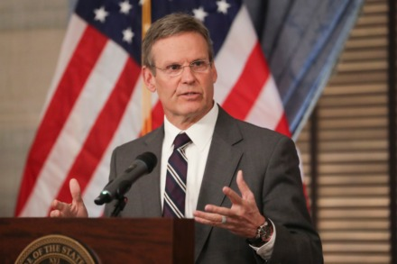 <strong>Tennessee Gov. Bill Lee answers questions concerning the state's response to the coronavirus in March 16, 2020, in Nashville. Lee is working with the state attorney general and comptroller on an executive order to put electronic government meetings rules in place.</strong> (AP Photo/Mark Humphrey)