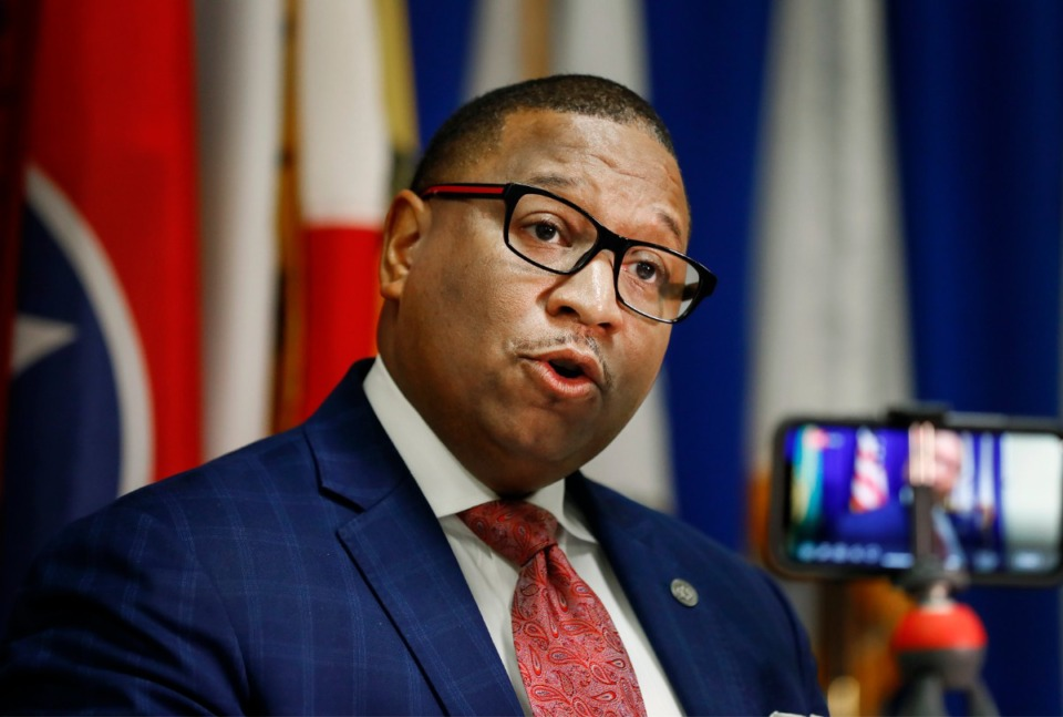 <strong>Shelby County Schools superintendent Dr. Joris M. Ray announces that SCS will suspends meal distribution at the Shelby County Emergency Management and Homeland Security office , during a press conference on Friday, March 20, 2020.</strong>&nbsp;<strong>A&nbsp;nutrition services department employee has tested positive for coronavirus.&nbsp;</strong>(Mark Weber/Daily Memphian)