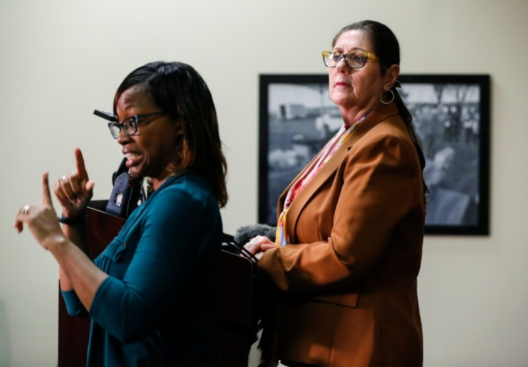 <strong>Shelby County Health Department Director Alisa Haushalter (right) gives an update about the coronavirus with sign language interpreter Mary Gill (left) on Friday, March 20, 2020, at the Shelby County Emergency Management and Homeland Security office.</strong> (Mark Weber/Daily Memphian)