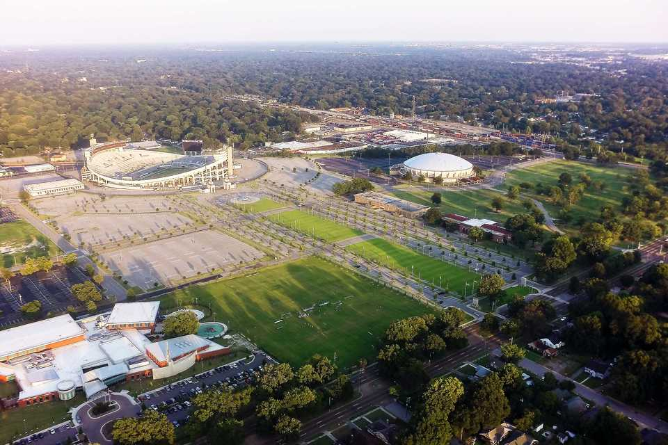 <strong>An aerial view of the Fairgrounds and Liberty Bowl Memorial Coliseum.</strong> <strong>A state panel approved Memphis&rsquo; request Monday for a Fairgrounds Tourism Development Zone to help fund a youth sports and events complex.</strong> (Daily Memphian file photo)