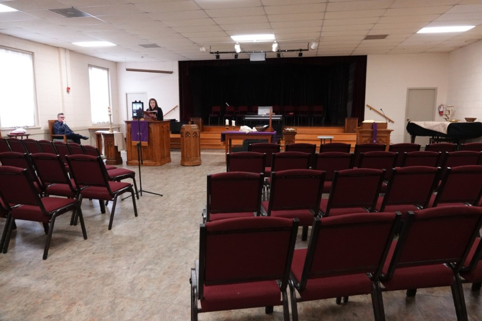 <strong>Rev. Sara K. Corum, pastor at Trinity United Methodist Church in Memphis, preaches to an empty room as her sermon is live-streamed from the Midtown church.</strong> (Karen Pulfer Focht/Special to the Daily Memphian)