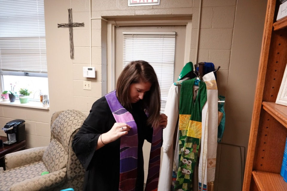<strong>Rev. Sara K. Corum prepares for the online service at Trinity United Methodist Church in Memphis on Sunday, March 22, 2020.</strong> (Karen Pulfer Focht/Special to the Daily Memphian)