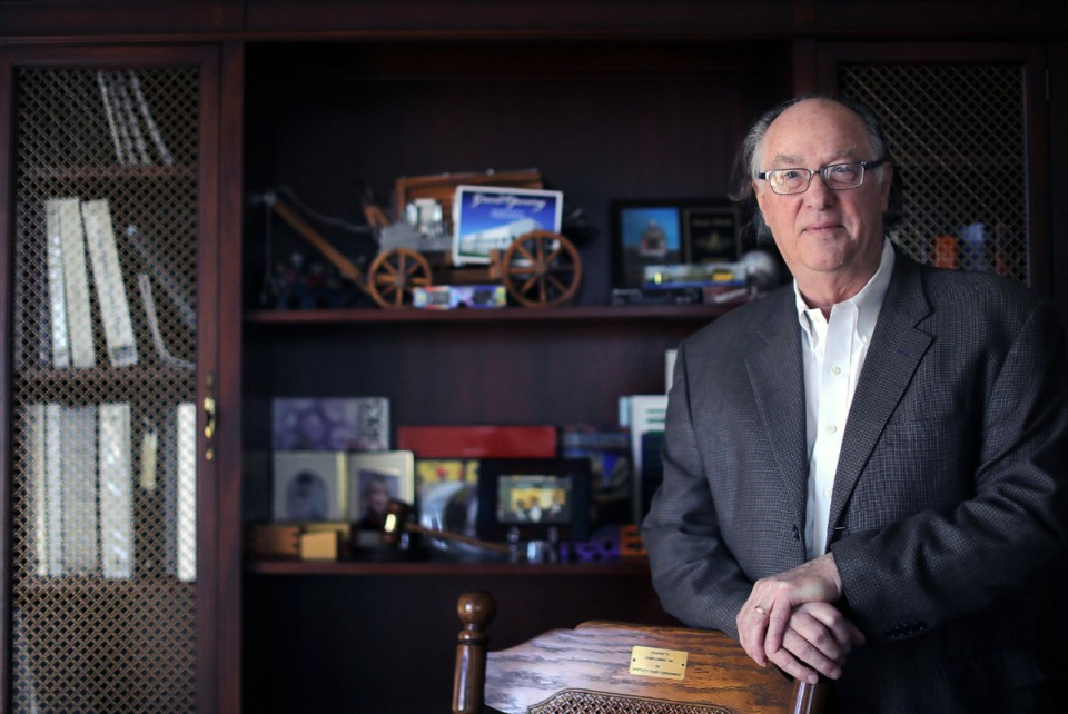 <strong>Bartlett Chamber of Commerce president John Threadgill (in his office March 6, 2020) has gathered a number of mementos throughout his long career on both the Bartlett and Memphis chambers of commerce.</strong> (Patrick Lantrip/Daily Memphian)