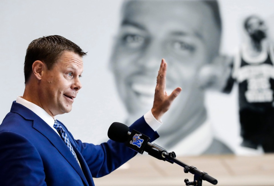 "<strong>&ldquo;As of now, we know the NCAA continues to operate, even though it's remotely like the rest of us,&rdquo;&nbsp;said University of Memphis Athletic Director Laird Veatch, seen here in an August 2019 press conference. &ldquo;At the same time, I think it's reasonable to expect there could be some level of delay.""</strong> (Mark Weber/Daily Memphian file)."