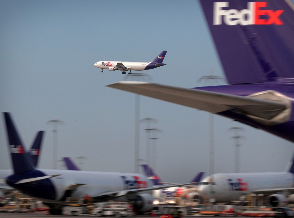 "<strong>An incoming plane makes its final approach at the FedEx hub Sept. 27, 2019. ""We are considered an essential service, and we are operating as local conditions and regulations allow,&rdquo; a FedEx statement reads.</strong> (Jim Weber/Daily Memphian file)"