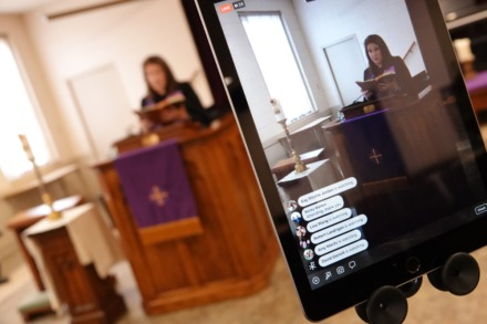 <strong>Rev. Sara K. Corum, pastor at Trinity United Methodist Church in Memphis, preaches to her congregation in a livestream on Sunday, March 22, 2020, from an empty room in her Midtown church, which was closed to worshippers due to the COVID-19 pandemic.</strong> (Karen Pulfer Focht/Special to the Daily Memphian)
