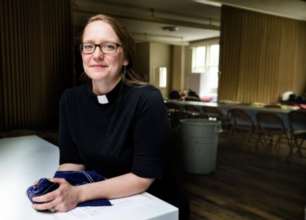 <strong>Rev. Kori McMurtry shows a visitor First Presbyterian Church's social distancing spaces of the women's shelter on March 24, 2020.</strong> (Ziggy Mack/Special to The Daily Memphian)