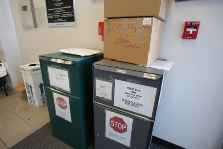 <strong>A drop box sits inside the TBI office in Memphis, with forensic evidence that has been collected.</strong> (Karen Pulfer Focht/Special to the Daily Memphian)