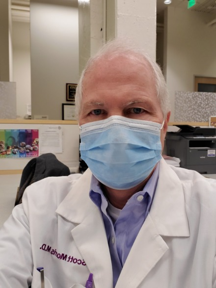 <strong>Dr. Morris is required to wear a surgival mask while at the Crosstown Concourse clinic, one which must be changed out every four hours.&nbsp;</strong>(Courtesy G. Scott Morris)