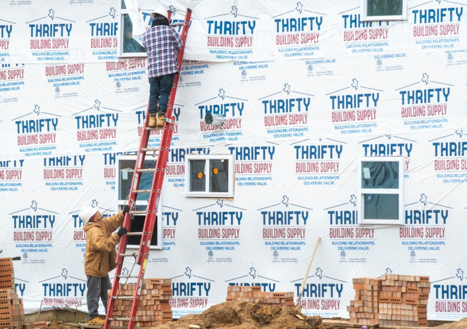 <strong>Construction workers continue to work on major renovations of the old Pleasant View Apartments in Frasyer Wednesday, March 25, 2020.</strong> (Greg Campbell/Special to The Daily Memphian)