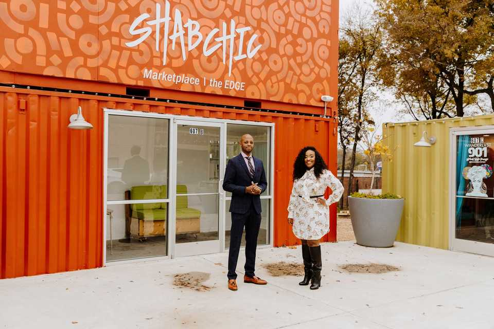 """<p style=""""text-align: center;""""><strong>Brian Christion (left) and Ebony Doss are owners of the Shab Chic Marketplace in the Edge District.&nbsp;</strong><strong>Shab Chic, designed to give storefront opportunities to startups and small businesses, will host a holiday market on weekends Friday, Nov. 23, through Sunday, Dec. 23.&nbsp;</strong>(Houston Cofield/Daily Memphian)"""