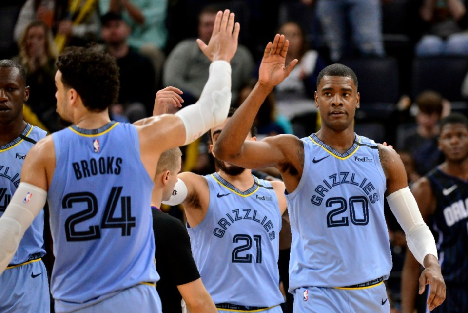 <strong>Memphis Grizzlies guard Josh Jackson (20) gets a high-five from guard Dillon Brooks (24) during a game against the Orlando Magic on March 10, 2020, in Memphis.</strong> (Brandon Dill/Associated Press)