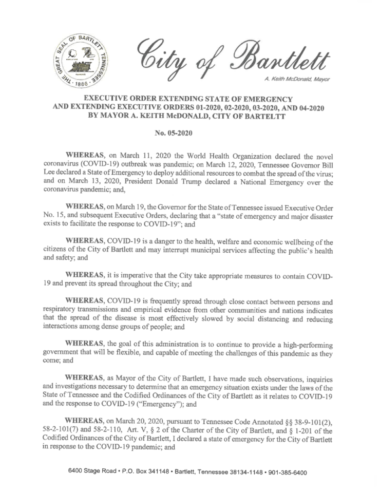 <strong>Bartlett Mayor Keith McDonald extended his various executive order's through April 3. He may extend them again for another seven days if nexessary. </strong>(<em>City of Bartlett</em>)