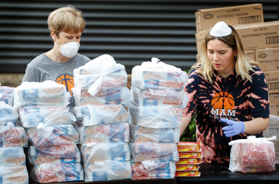 <strong>Memphis Athletic Ministries volunteers Anne Chambers (left) and McKenzie Akins (right) assemble 200 14-day food boxes that were distributed at a drive-through event on Friday, March 27, 2020. The Mid-South Food Bank's mobile pantry helped to supplement the food boxes for larger families.</strong> (Mark Weber/Daily Memphian)