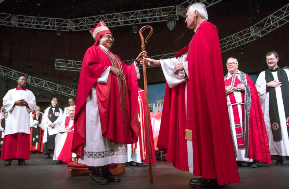 <strong>The Rt. Rev. Phoebe A. Roaf&nbsp; receives her crozier from Bishop Don Johnson during&nbsp;her consecration as Fourth Bishop of the Episcopal Diocese of West Tennessee on May 5, 2019, at Hope Church.</strong> (Lisa Buser/Daily Memphian file