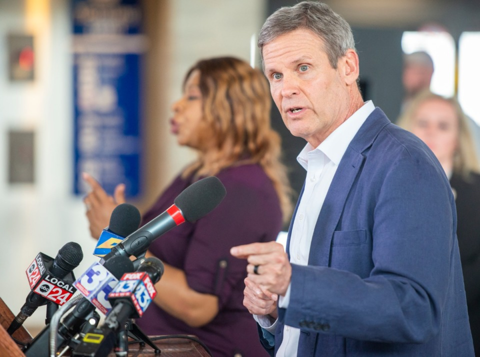 <strong>Gov. Bill Lee takes questions after his press briefing on the status of the COVID-19 virus in the state at the Memphis International Airport Friday, March 27, 2020.&nbsp;</strong>&nbsp;(Greg Campbell/Special to The Daily Memphian)