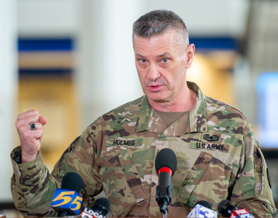 <strong>Maj. Gen. Jeff Holmes,&nbsp;the state's adjutant general and commander of the Tennessee National Guard, speaks at Gov. Bill Lee's press conference at the Memphis International Airport Friday, March 27, 2020.</strong> (Greg Campbell/Special for The Daily Memphian)