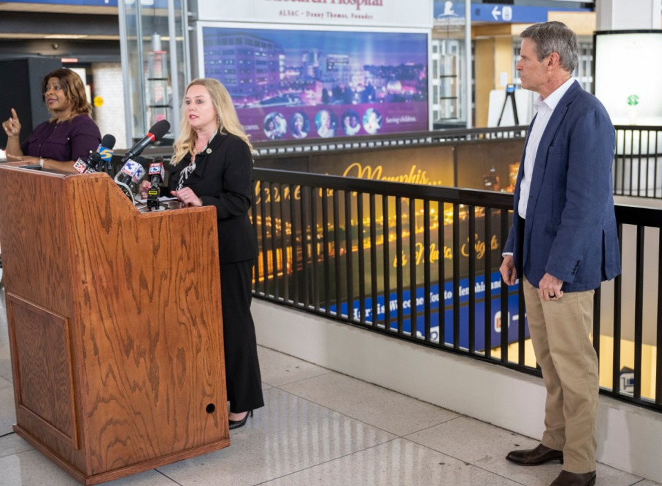 <strong>Dr. Lisa Piercey, Commissioner of the Tennessee Department of Health, addresses the public at Gov. Bill Lee's press conference at Memphis International Airport Friday, March 27, 2020. Gov. Lee keeps his social distance to the right.</strong> (Greg Campbell/Special to The Daily Memphian)