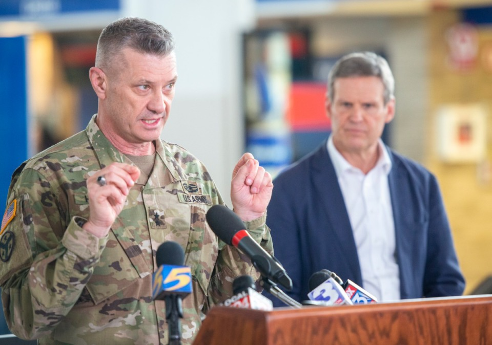 <strong>Maj. Gen. Jeff Holmes, the state's adjutant general and commander of the Tennessee National Guard, details the Guard's plans to respond to COVID-19 at Gov. Bill Lee's press conference at the Memphis International Airport Friday, March 27, 2020.</strong> (Greg Campbell/Special for The Daily Memphian)