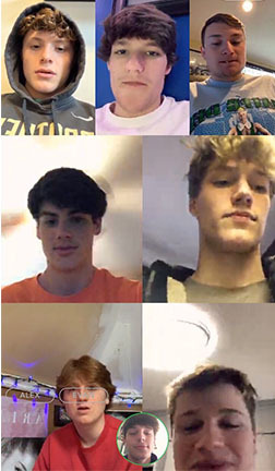 <strong>Online chatters include (left to right, top to bottom) Dayne Dalrymple, Andrew Wright, Connor Billingsley, James Grantham, Foster Salvaggio, Owen Fermi, Nick Commons (in the circle) and&nbsp;Sam Lee.<span>&nbsp;</span></strong><span>(Courtesy Christian Brothers High School)</span>