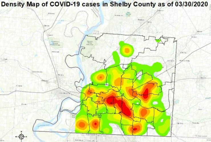 <strong>Shelby County Health Department heat map of confirmed COVID-19 cases.</strong> (Shelby County Health Department)