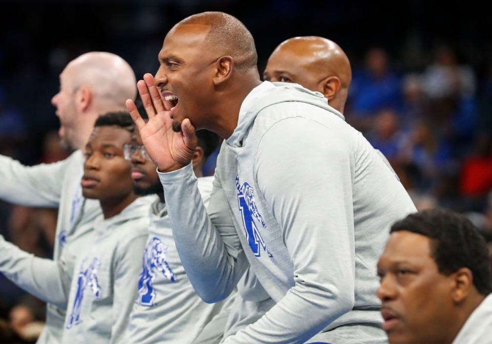 <strong>Recruiting is lot different this spring for Penny Hardway (at Memphis Madness at FedExForum on Oct. 3, 2019) because no in-person contact is allowed at the moment, and the major AAU circuits have already canceled future events. </strong>(Mark Weber/Daily Memphian file)