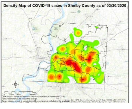 <strong>Shelby County Health Department heat map of positive cases in the county by where the victims live.</strong> (Credit: Shelby County Health Depatment)