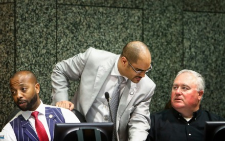 <strong>Shelby County Commissioners Edmund Ford Jr. (middle) and Mark Billingsley (right) converse as Mickell M. Lowery (left) looks on during a session discussing budget proposals for fiscal year 2019-20.</strong> <strong>Shelby County Commission committee meetings on April 1 will be accessible remotely due to the COVID-19 pandemic.</strong> (Mark Weber/Daily Memphian file)