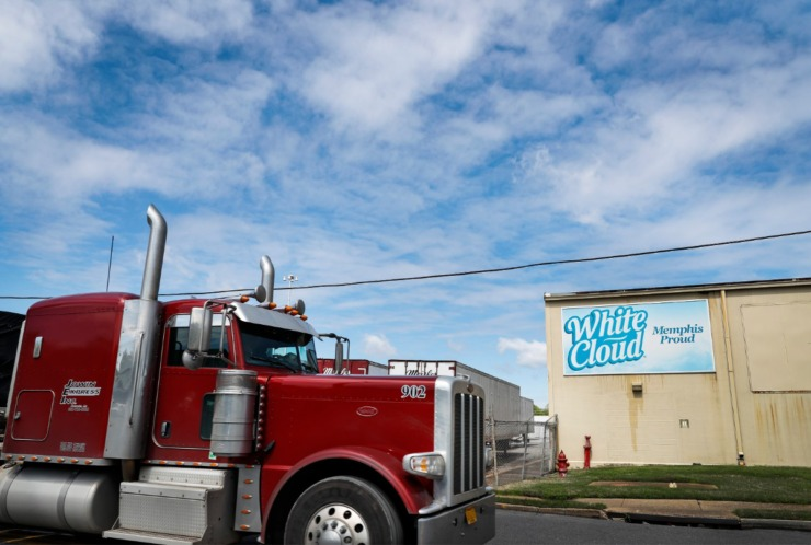 <strong>A truck drives by the Kruger Inc. plant on Tuesday, March 31, 2020. Kruger makes 1 million rolls of toilet paper a day in North Memphis.</strong> (Mark Weber/ The Daily Memphian)