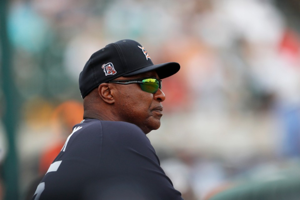 <strong>Detroit Tigers coach Dave Clark watches during a spring training baseball game against the Pittsburgh Pirates, Tuesday, March 10, 2020, in Lakeland, Florida.</strong> (AP Photo/Carlos Osorio)