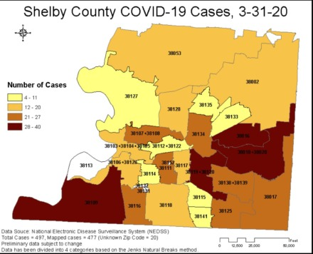 Shelby County COVID-19 cases as of March 31, 2020.