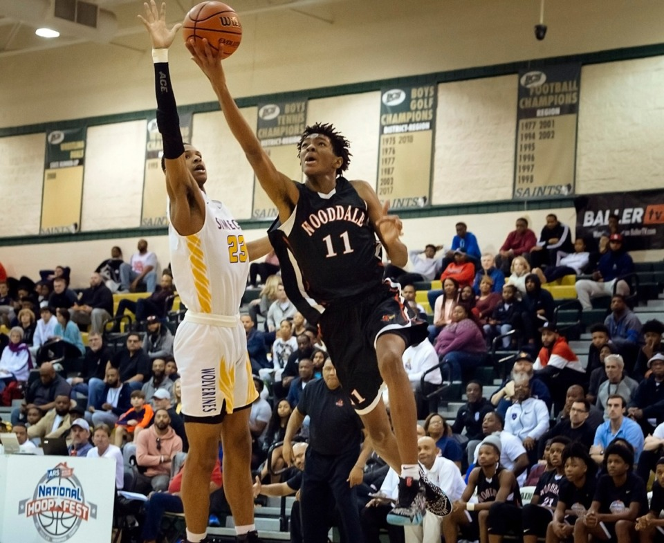 <strong>Johnathan Lawson of Wooddale High (11), seen here at the 2019 National Hoop Fest in Cordova, is the Player of the Year.</strong> (Daily Memphian file)