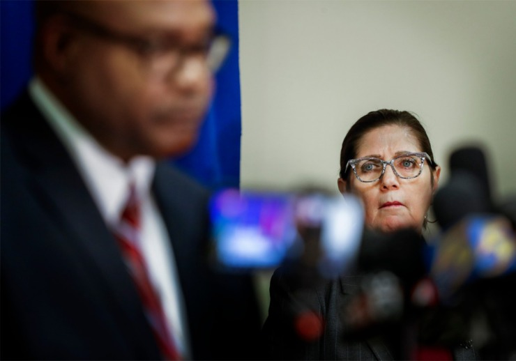 <strong>Shelby County Health Department Director Alisa Haushalter (right) attends a press conference on the coronavirus outbreak on Wednesday, April 1, 2020.</strong> (Mark Weber/Daily Memphian) (Mark Weber/ The Daily Memphian)