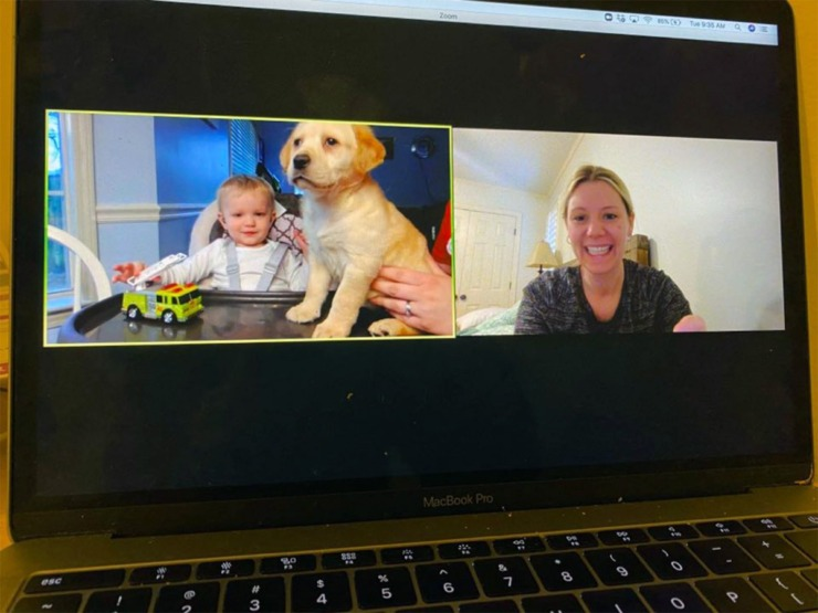 <strong>Colton Willis shows off his puppy to his teacher at Memphis Oral School for the Deaf during a video chat session.</strong> (Submitted/Memphis Oral School for the Deaf)