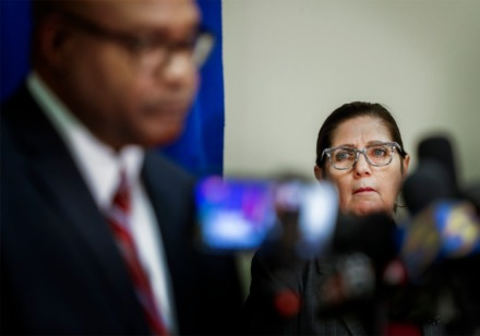 <strong>Shelby County Health Department Director Alisa Haushalter (right) attends a press conference on the coronavirus outbreak on Wednesday, April 1, 2020.</strong> (Mark Weber/Daily Memphian)&nbsp;