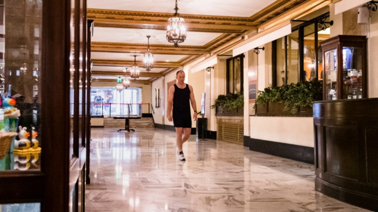 <strong>Traveling FedEx pilot Scott Thorpe returns to the Peabody Hotel lobby after a run in Downtown Memphis on April 3, 2020.</strong> (Ziggy Mack/Special to Daily Memphian)
