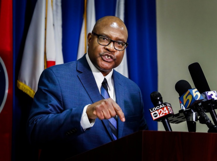 <strong>Shelby County Health Department health officer Dr. Bruce Randolph strongly states, that any business not adhering to social distancing guidelines will be shut down during coronavirus outbreak press conference on Friday, April 3, 2020.</strong> (Mark Weber/Daily Memphian)