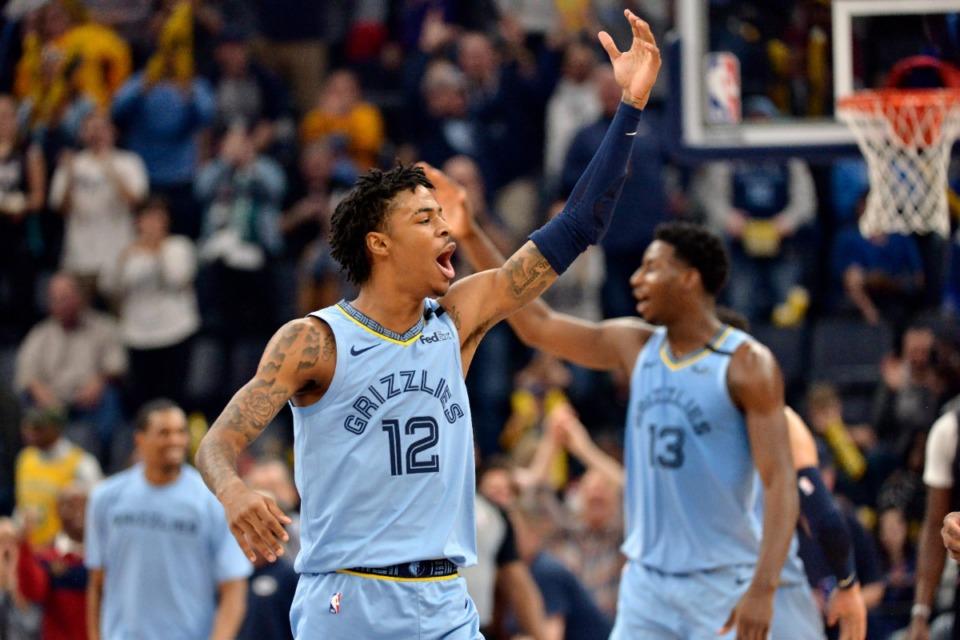 <strong>Memphis Grizzlies guard Ja Morant (12) and forward Jaren Jackson Jr. (13) react in the first half of an NBA basketball game against the Houston Rockets Tuesday, Jan. 14, 2020, in Memphis, Tenn.</strong> (AP Photo/Brandon Dill)