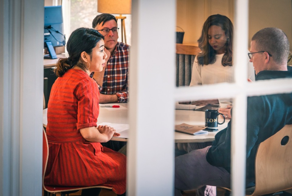 """<ol></ol><p style=""""font-weight: 400;""""><strong>Attending a joint Slingshot Memphis-JUST CITY working session are (from left)&nbsp;</strong><strong>Sophie Kim, Slingshot's manager of partner support &amp; special projects; Dr. Doug Campbell, Slingshot's chief knowledge officer; Joia Erin, JUST&nbsp;CITY's program and partnership manager; and Josh&nbsp;Spickler, JUST&nbsp;CITY's executive director.</strong> (Submitted/David Roseberry)"""