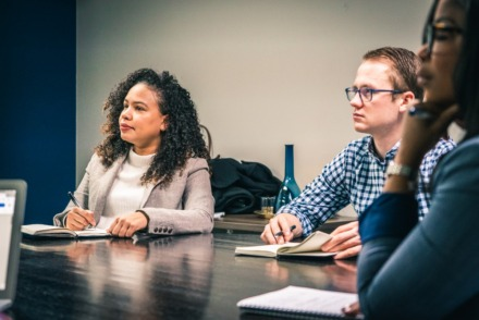 """<p style=""""font-weight: 400;""""><strong>Attending a joint Slingshot Memphis-The Collective Blueprint working session are (from left)&nbsp;</strong><strong>Sarah Lockridge-Steckel, The Collective Blueprint's chief executive officer; Chris Timko, Slingshot's senior advisor; and Sabrina Dawson, The Collective Blueprint's vice president, programs</strong>.&nbsp;(Submitted/David Roseberry)"""